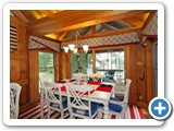 Dining areain Timber Peg Lodge by Lake Norman Luxury Rentals